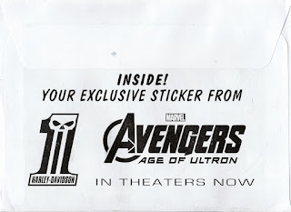 Back of the envelope that the Harley Davidson's Avengers sticker came in