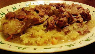 Pork Roast with Sauerkraut, Apples, and Onions