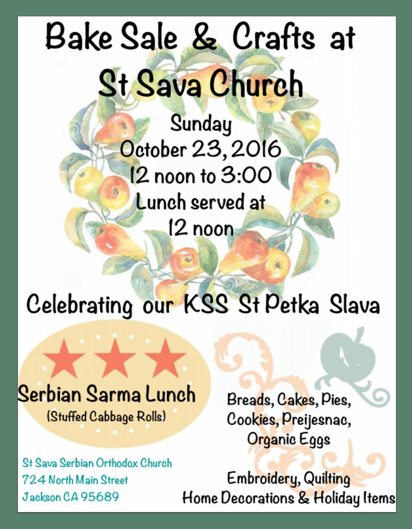 Bake Sale & Crafts at St. Sava Church - Sun Oct 23