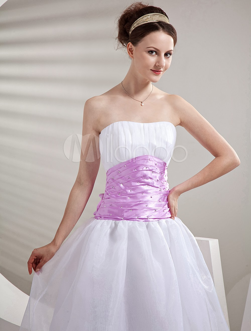 China Wholesale Dresses - Cute White Strapless Pink Sash Beaded Cocktail Dress