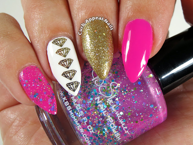 Hot Pink, Gold, and Diamond Skittle Nails