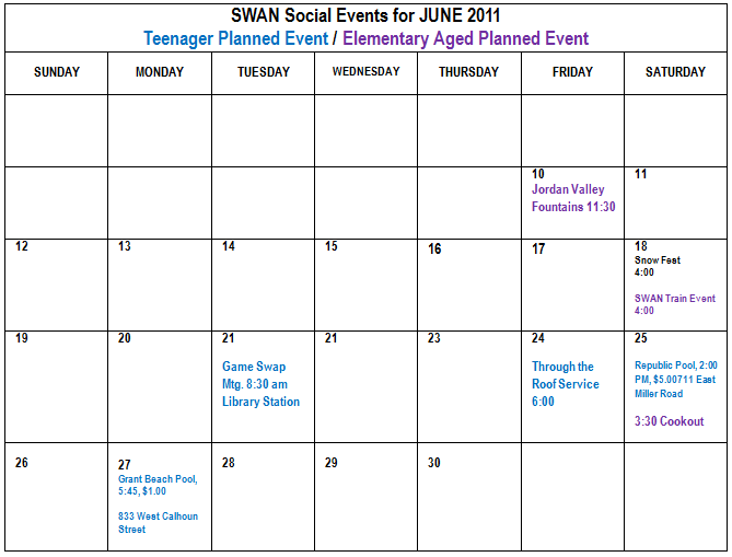 June Calendar Events : Calendar of events swan
