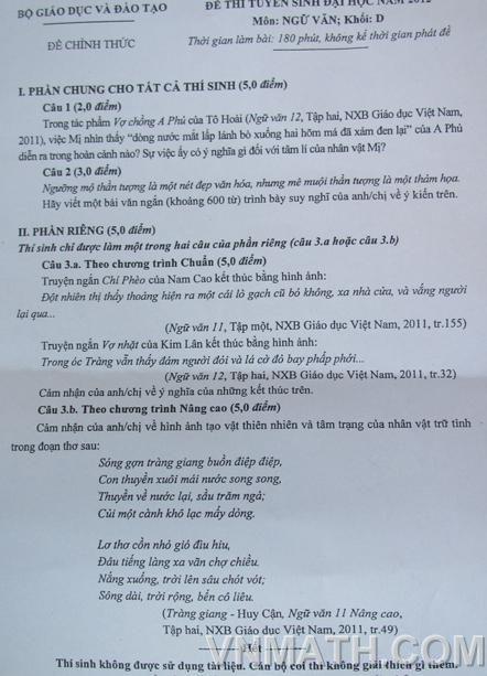 Đề thi, đáp án chính thức môn Văn khối C, D 2012 Dethi-van-khoi-d-nam-2012