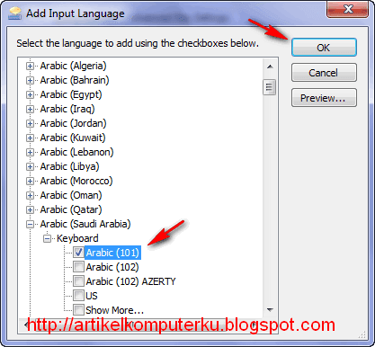 setting bahasa arab di windows 7