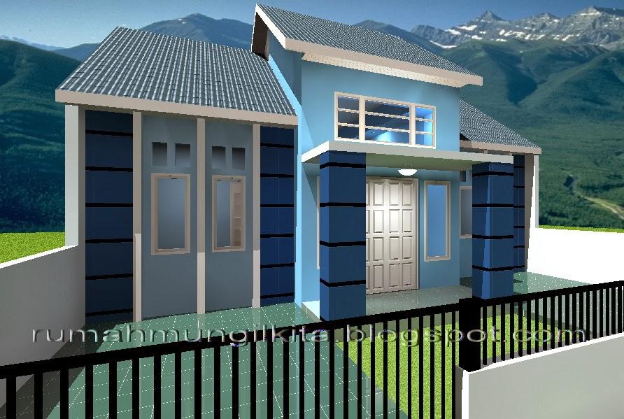 rumah mungil minimalis bernuansa biru tipe 70 4 kamar tidur tampak samping