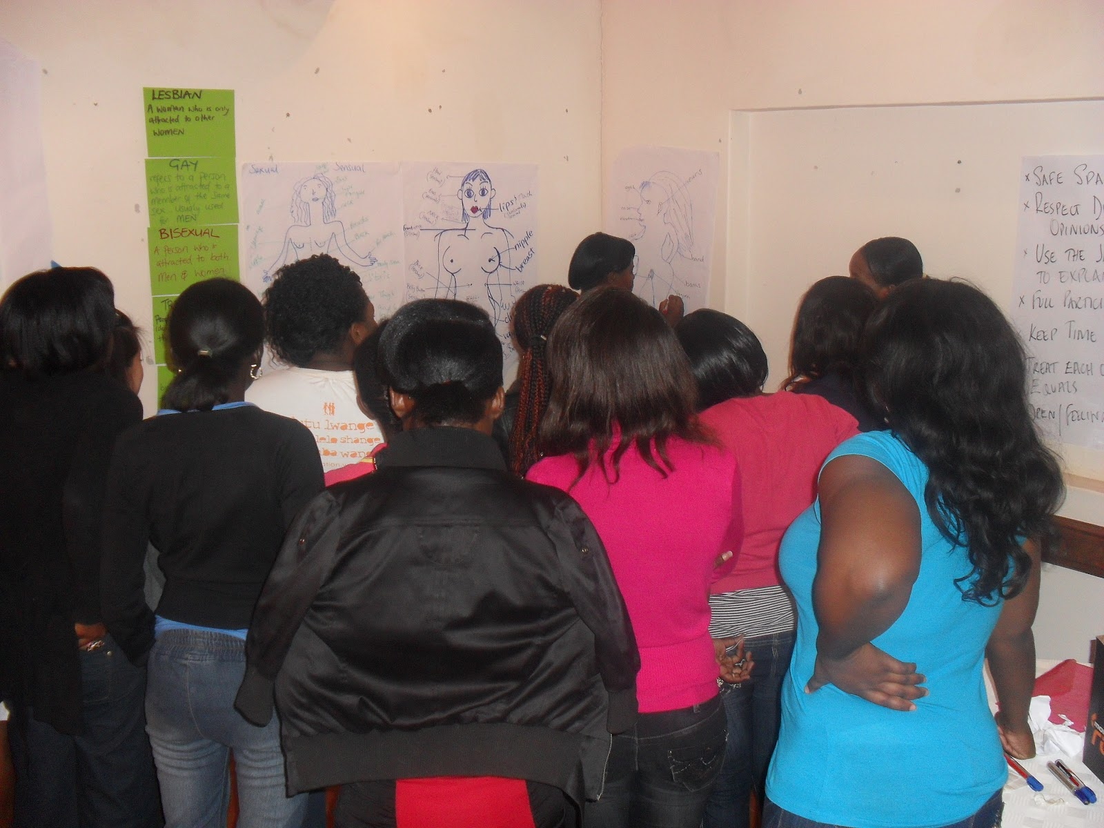 Young women in Zambia in workshop at Young Women Leadership Camp