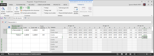 Recurso Tipo Costo - Imagen 4 - Microsoft Project