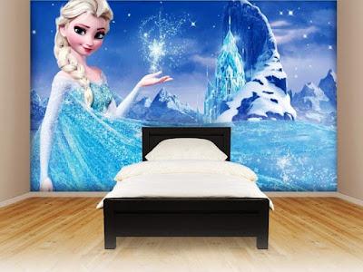 Contoh Wallpaper Dinding Kamar Tidur Anak Perempuan Motif Frozen