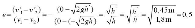 koefisien restitusi antara lantai dan bola