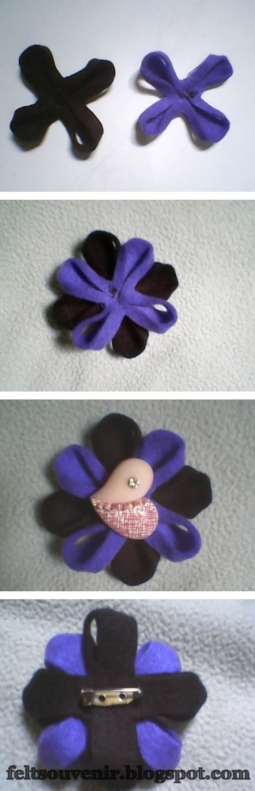 di bagian tengah bunga tempelkan peniti bros di bagian belakang bunga