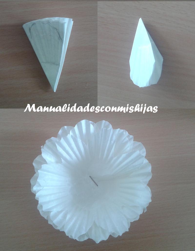 Manualidades con mis hijas flores con moldes de magdalenas - Moldes papel magdalenas ...
