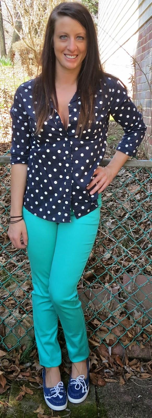 polka dot blouse, mint pants, target, fashion, outfit