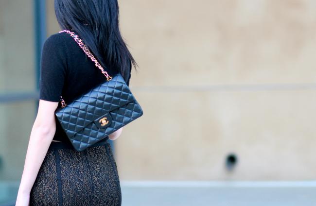 chanel vintage classic flap black lambskin bag