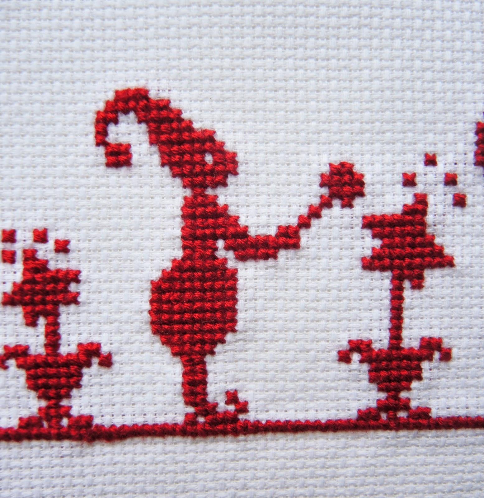 Вышивка мулине Аида канва красный звезда рождество новый год подарок своими руками