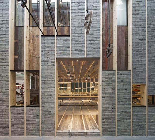 reciclando madera en la tienda camper de shangai espacios