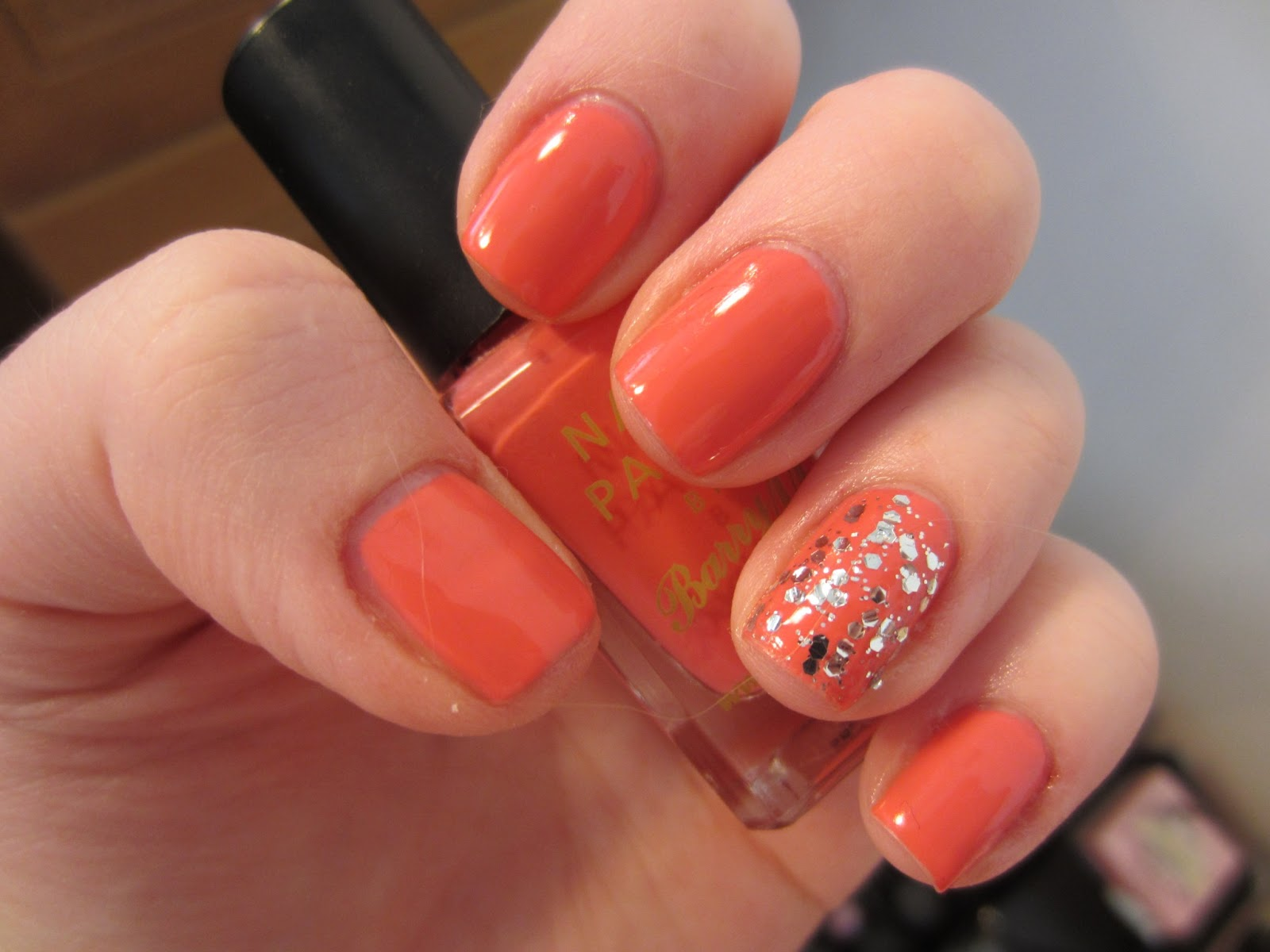 NailsByNumbers: NOTD! Barry M Pink Flamingo and No7 Glitter