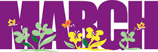 march spelled in purple letters with flowers at the bottom