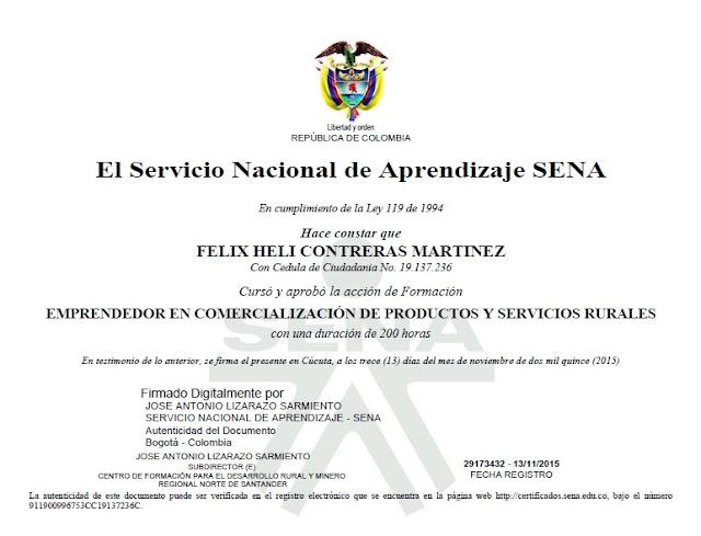 Félix Helí Contreras Martínez recibe certificado como Emprendedor del SENA ☼ #AmigosPorCúcuta