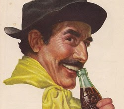 Propaganda da Coca-Cola para o mercado brasileiro nos anos 40: imagem de um vaqueiro.