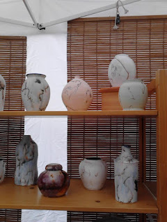 Display of Horse Hair Raku pottery