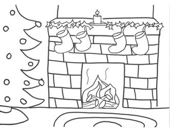 Santa And Fireplace Coloring Page
