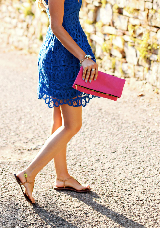 wedding guest attire, what to wear to a summer wedding, what to wear to an outdoor wedding, lilly pulitzer blue lace dress, lilly pulitzer foley dress, blue and pink, victoria khoss foldover clutch, pink foldover clutch, sam edleman t-strap sandals, essie nailpolish