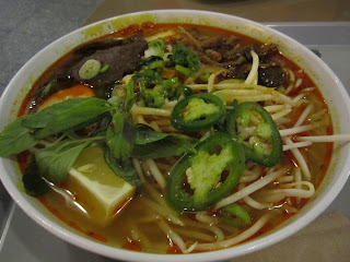 Loving Hut's Noodle Soup, with tofu, noodles, seitan, and lots of veggies