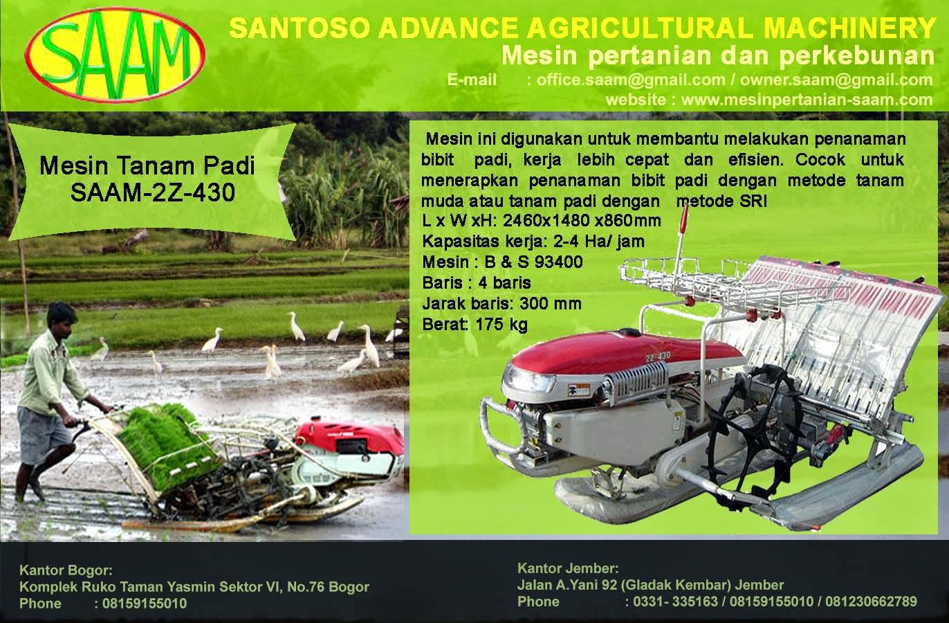 Mesin Tanam Padi Santoso Advance Agricultural Machinery Paket Tudung 1 Pisau Dan Gearcase