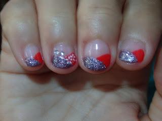 Manicura para uñas cortas, Roja y Plata