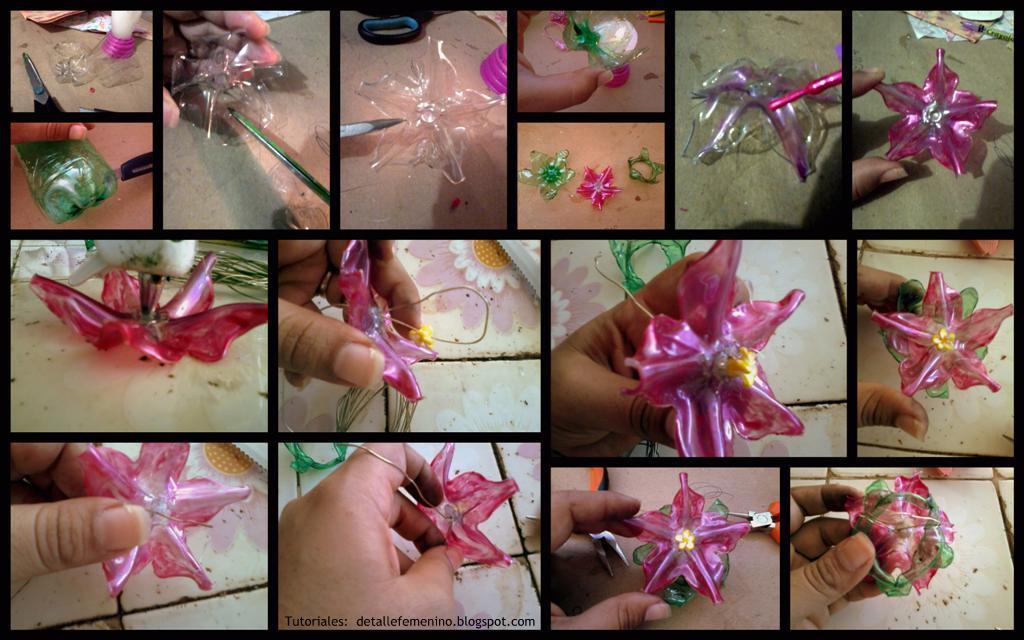 Imagenes De Flores Con Botellas - Flores recicladas:como hacer flores de lirios con botellas de