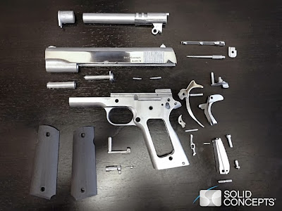 Komponen fizikal pistol 3-D model .45 ACP 1911 (Sumber: Guns.com)