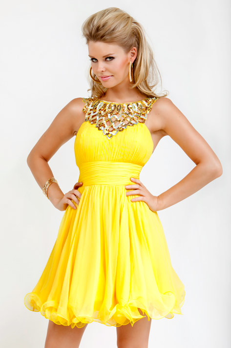 SHORT ASIAN HAIRSTYLES: YELLOW PROM DRESSES CAN FLAUNT YOUR LOOK
