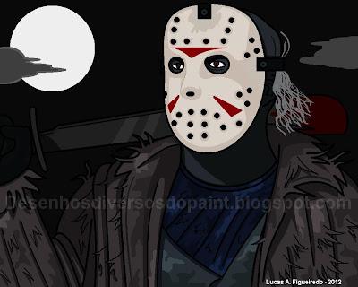 Desenho do Jason Voorhees, da Sexta Feira 13 (Friday The 13th), feito no Paint