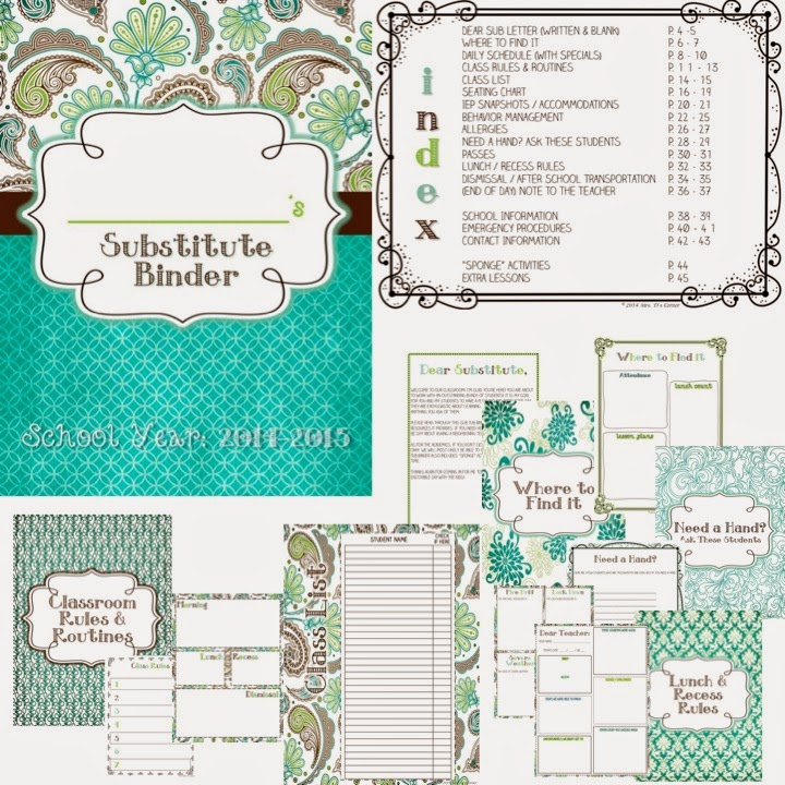 http://www.teacherspayteachers.com/Product/Substitute-Binder-Teal-Mosaic-The-Ultimate-Sub-Tub-Binder-Guide-1285054