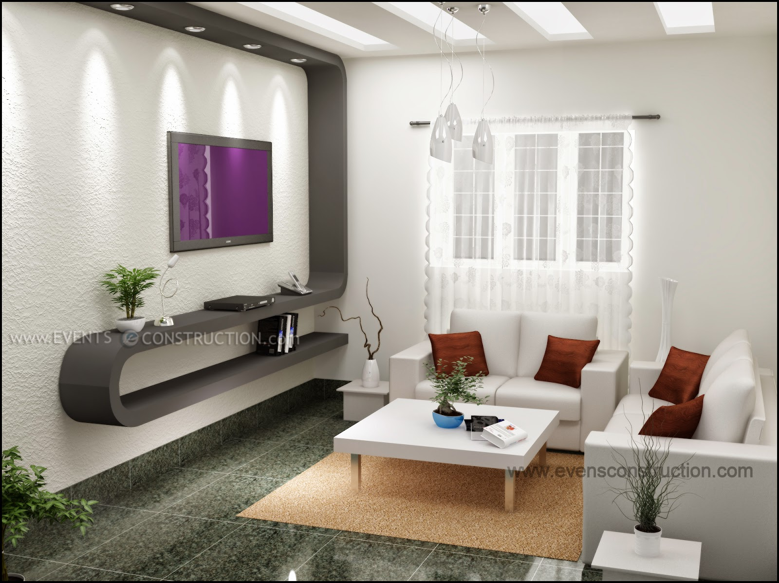 Modern Living Area Designed For Kerala Home
