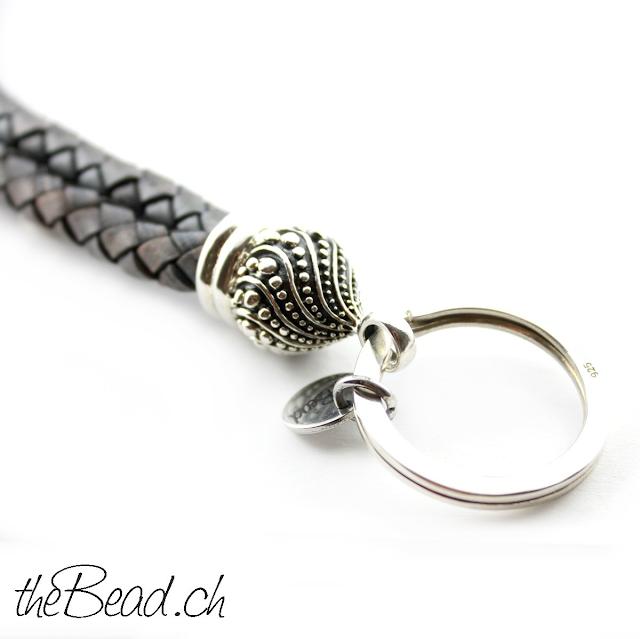 tolle Geschenkidee Schlüsselanhänger Luxus aus 925 Sterling Silber und Leder
