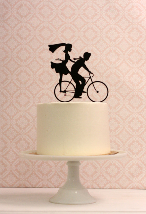 Retro Silhouette Wedding Cake Topper