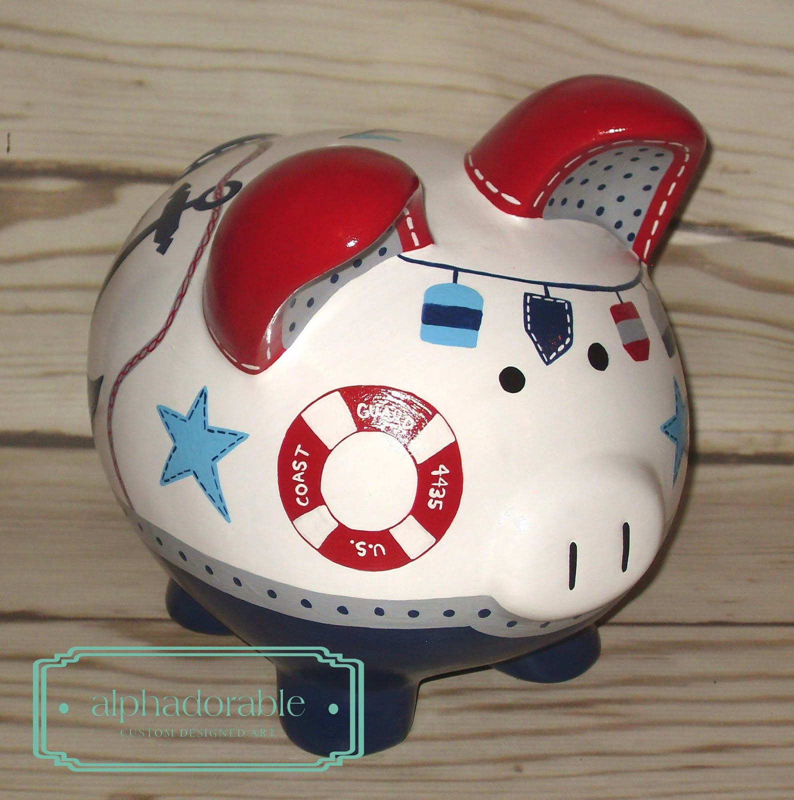 Alphadorable oh buoy custom piggy bank to coordinate with land of nod nautical set - Nautical piggy banks ...
