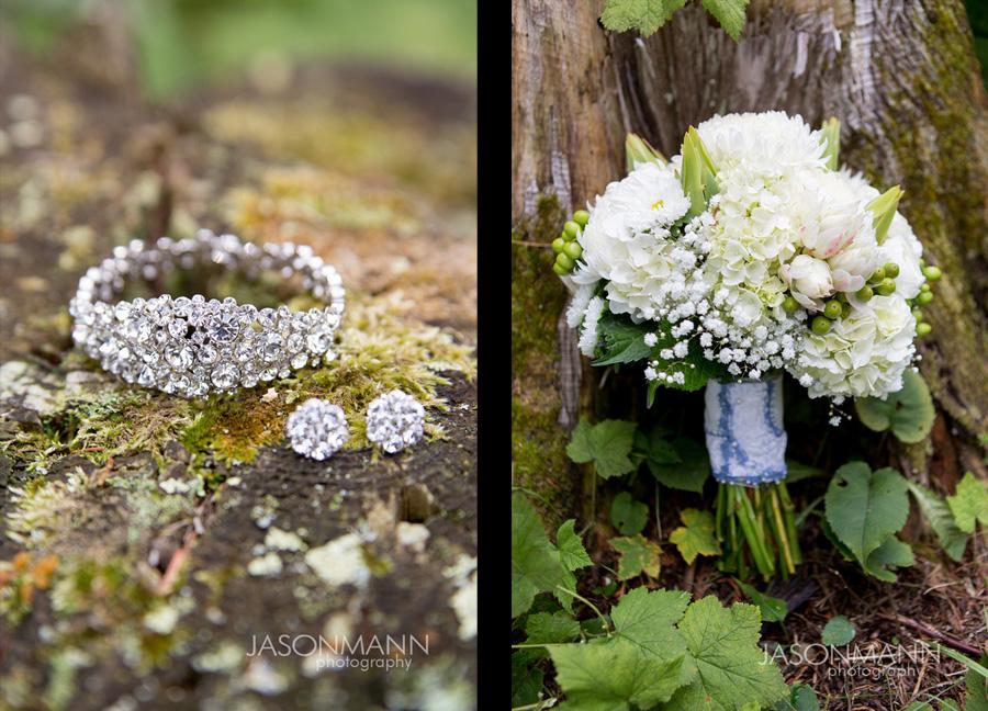 Diamond wedding jewelry. White and green wedding bouquet by Flora. Photo by Jason Mann Photography, 920-246-8106, www.jmannphoto.com