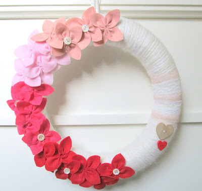 romantic wreath for st. valentine's day