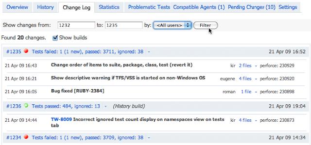 Список изменений в веб-интерфейсе Continuous Integration сервера Jetbrains TeamCity