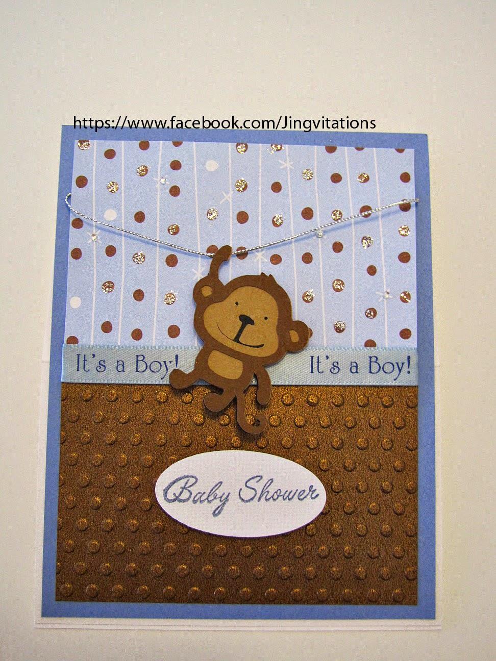 Jingvitations monkey theme for baby shower invitations - Baby shower monkey pictures ...