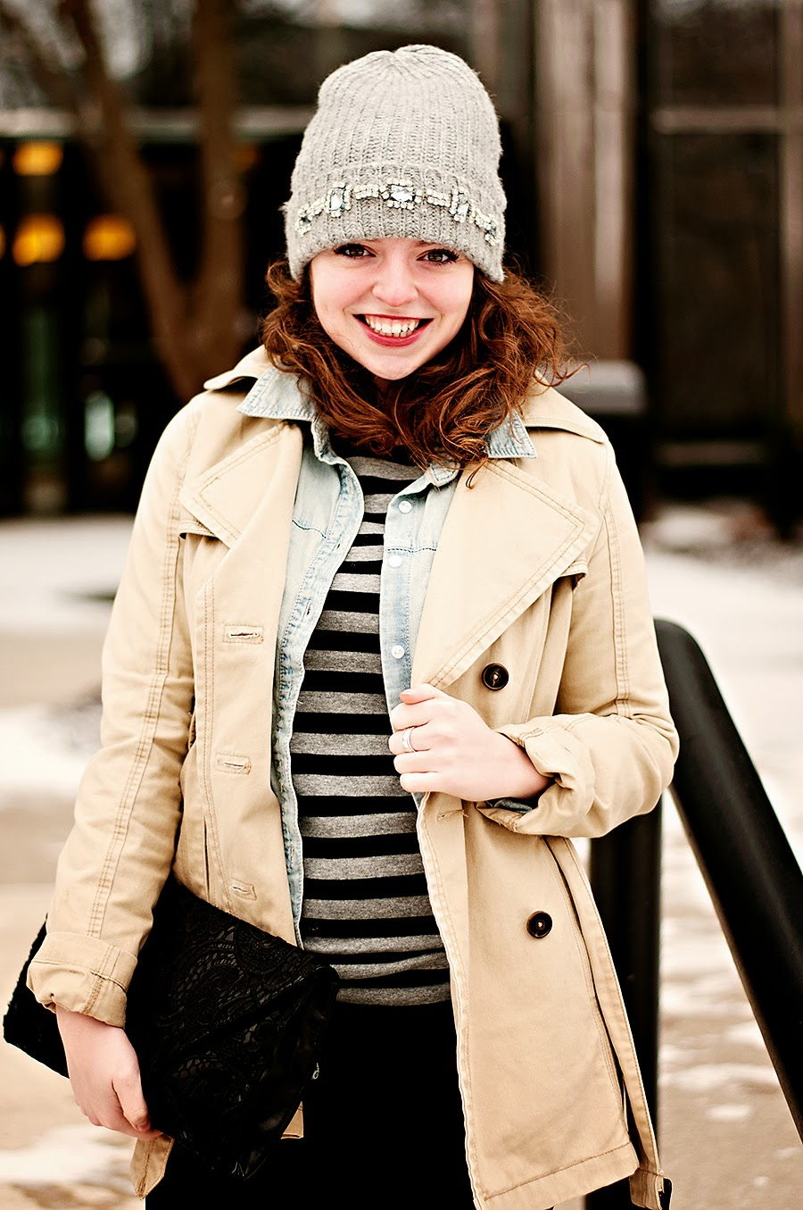 Winter Outfit with Jeweled Beanie