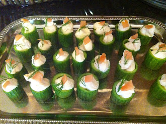Smoked Salmon and Cucumber Canapes w. Dill