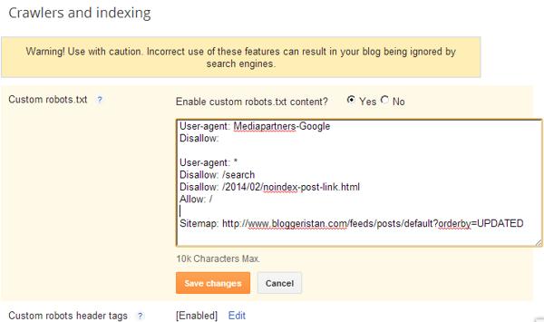blogger post noindex