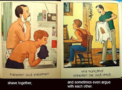 pareja gay afeitándose y discutiendo