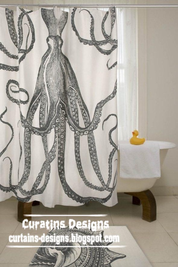 Gallery of best shower curtain design ideas colors for for Black and white curtain designs
