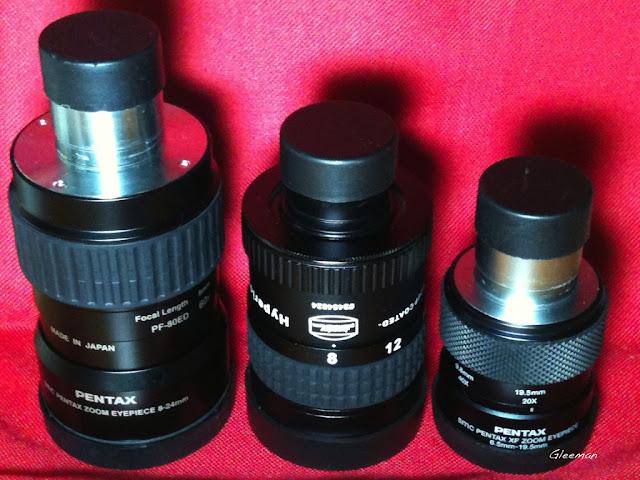 左起:Pentax SMC XL Zoom,Baader Hyperion Zoom ,Pentax XF Zoom