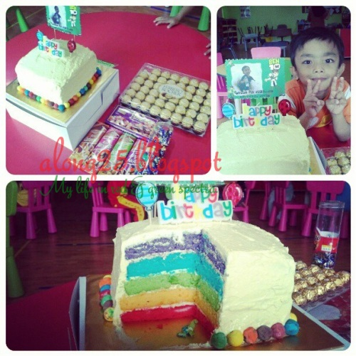 blog along25 birthday rainbow cake kek harijadi buat sendiri sendirik murah deco simple