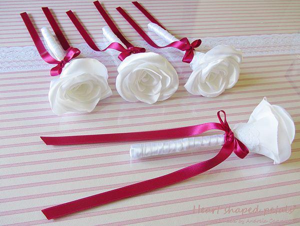 Fabric flowers ring bearer girls